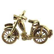 Vintage 9K Yellow Gold 3D Bicycle Charm with Much Detail and Moving Wheels