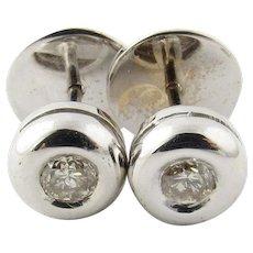 Vintage 14 Karat White Gold Bezel Set Diamond Earrings