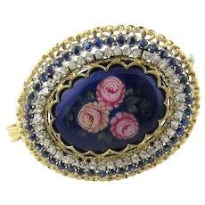 Antique 18 Karat Yellow Gold Diamond and Sapphire Toliro Italy Enamel Brooch/Pendant