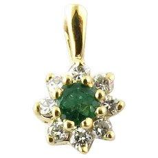 VIntage 14 Karat Yellow Gold Diamond and Emerald Pendant
