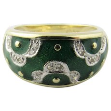 Vintage 14K Yellow Gold Green Enamel and Diamond Floral Ring