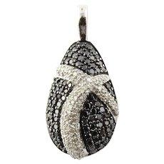Vintage 14K White Gold Black and White Diamond Pendant