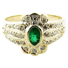 Vintage 14 Karat Yellow Gold Emerald and Diamond, Ring Size 5