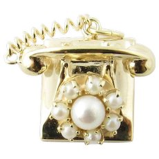 Vintage 14 Karat Yellow Gold and Pearl Rotary Phone Charm