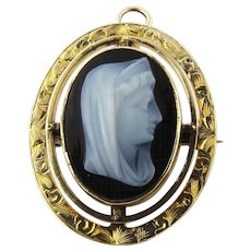 Antique 14K Yellow Gold Sardonyx Cameo Madonna Pin/Pendant circa 1915