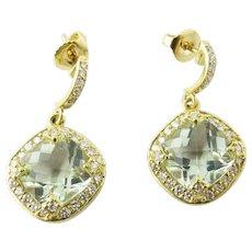 Vintage 18 Karat Yellow Gold Aquamarine and Diamond Earrings