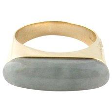 Vintage 14 Karat Yellow Gold Gump's Jade Saddle Ring Size 9.5