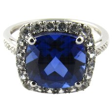 Vintage 10 Karat White Gold Synthetic Sapphire and Cubic Zirconia Ring Size 7