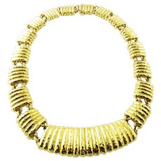 "David Webb 18K Yellow Gold Fluted Panel Link Necklace Choker 16"""