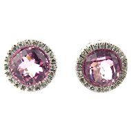 Vintage 14 Karat White Gold Pink Gemstone and Diamond Earrings