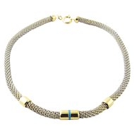 Vintage 18K Yellow Gold and Stainless Steel Mesh Bracelet