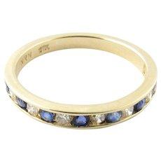 Vintage 14 Karat Yellow Gold Sapphire and Diamond Wedding Band Size 5.75