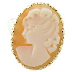Vintage 14 Karat Yellow Gold Cameo Ring Size 7.25