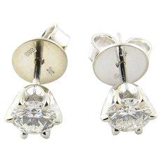 Vintage 14 Karat White Gold Diamond Stud Earrings .56 ct.