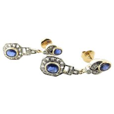 Antique Edwardian 18 Karat Yellow Gold Sapphire and Diamond Earrings
