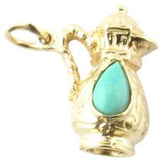 Vintage 14 Karat Yellow Gold and Turquoise Pitcher Charm