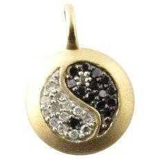 Vintage 14 Karat Yellow Gold Diamond Yin Yang Charm