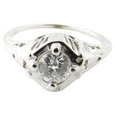 Vintage 18 Karat White Gold Diamond Engagement RIng SIze 6.5
