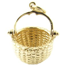 Vintage 14 Karat Yellow Gold Bill Rowe Nantucket Basket Charm