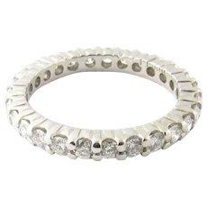 Vintage Platinum Diamond Eternity Wedding Band Size 3.5