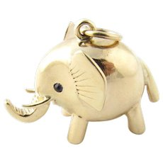 Vintage 14 Karat Yellow Gold and Sapphire Elephant Charm