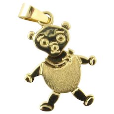 Vintage 18 Karat Yellow Gold Articulated Teddy Bear Charm