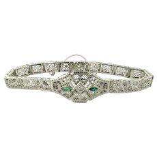 "Vintage 14 Karat White Gold Filigree Diamond and Emerald Bracelet 6.5"""