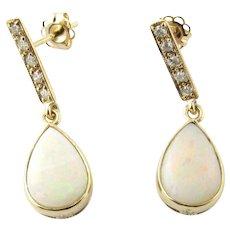 Vintage 14 Karat Yellow Gold Opal and Diamond Earrings