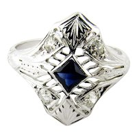 Vintage Filagree 18K White Gold Blue Sapphire and Diamond Ring Size 6