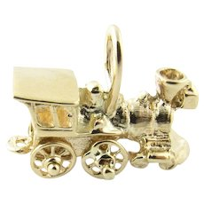 Vintage 14 Karat Yellow Gold Steam Engine Charm