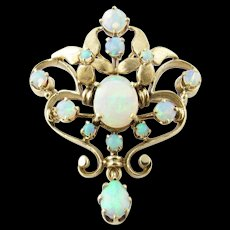 Vintage 14 Karat Yellow Gold Opal Brooch/Pendant