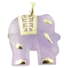 Vintage 14 Karat Yellow Gold Purple Jade Elephant Pendant