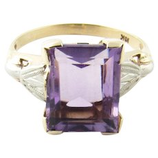 Vintage 10 Karat White Gold Amethyst and Diamond Ring Size 6