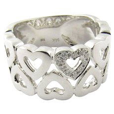 Vintage 14 Karat White Gold and Diamond Heart Ring Size 6.25