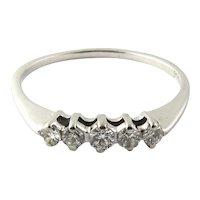 Vintage 14 Karat White Gold Diamond Wedding Band Size 7.75