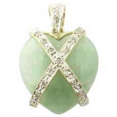 Vintage 14 Karat Yellow Gold and Diamond Green Marble Heart Pendant