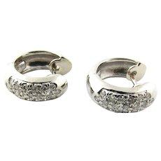 Vintage 14 Karat White Gold and Diamond Huggie Earrings