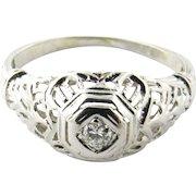 Vintage 18 Karat White Gold Diamond Ring Size 4.75