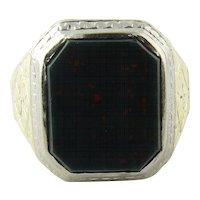 Antique Victorian Men's 14K Gold Bezel Set Bloodstone Ring Size 9.25