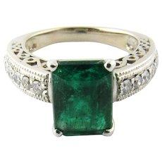 Vintage 14 Karat White Gold Emerald and Diamond Ring Size 6.75