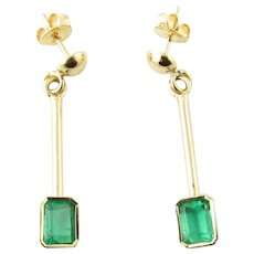 Vintage 18 Karat Yellow Gold and Emerald Earrings