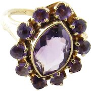 Vintage 10 Karat Yellow Gold Amethyst Ring Size 5