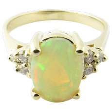 Vintage 14 Karat Yellow Gold Opal and Diamond Ring Size 6.75