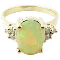 Vintage 14 Karat Yellow Gold Opal and Diamond Ring Size 6.75