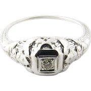 Vintage 14 Karat White Gold Diamond Ring Size 5.25