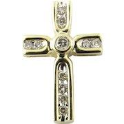 Vintage 14 Karat Yellow Gold Diamond Cross Pendant