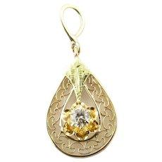 Vintage 10 Karat Yellow Gold and Diamond Pendant