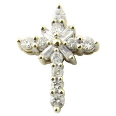 Vintage 10 Karat White Gold Diamond Cross Pendant