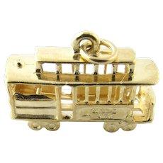 Vintage 14 Karat Yellow Gold San Francisco Cable Car Charm