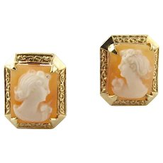 Vintage Cameo 14k Stud Earrings with Screw Backs